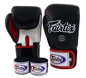 Fairtex Muay Thai Boxing Gloves BGV1 black-white-red